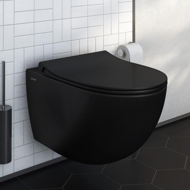 VitrA Sento wall-mounted washdown toilet rimless, matt black, with VitrAclean