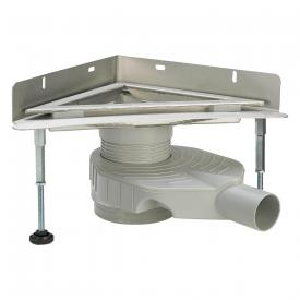 Viega Advantix corner drain with wall sheet matt stainless steel, L: 26.5 W: 26.5 cm