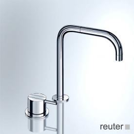 Vola 590 two hole, single lever mixer with double swivel spout, without waste set stainless steel