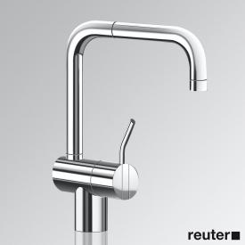 Vola KV1M single lever mixer with double swivel spout, operating lever: 60 mm without waste set, chrome