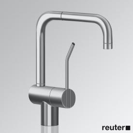 Vola KVL single lever mixer with double swivel spout, operating lever: 100 mm without waste set, stainless steel