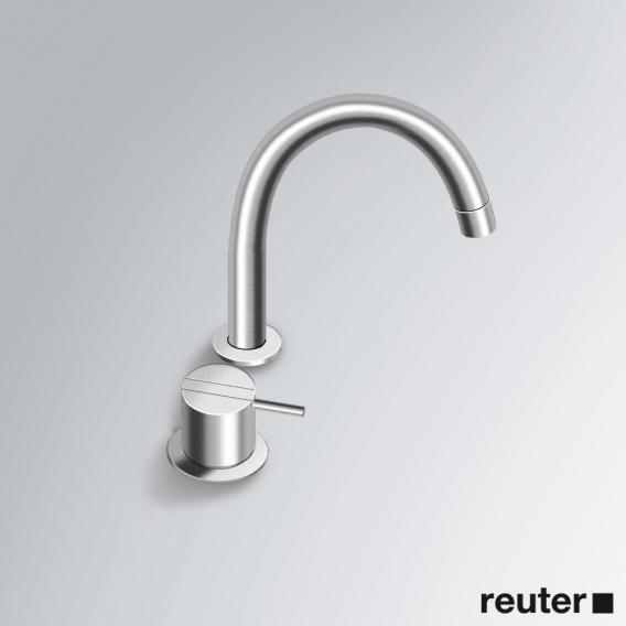 Vola 590G two hole, single lever basin mixer with swivel spout stainless steel