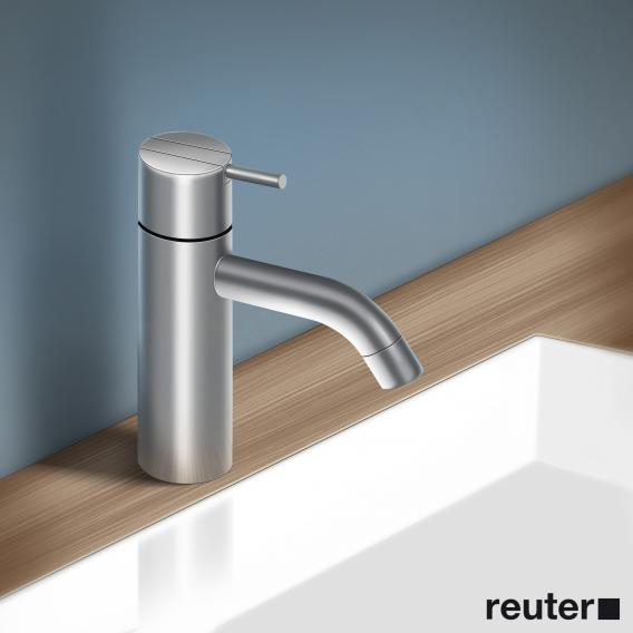 Vola HV1 single lever mixer with fixed spout, operating lever: 25 mm without waste set, projection: 114 mm, stainless steel