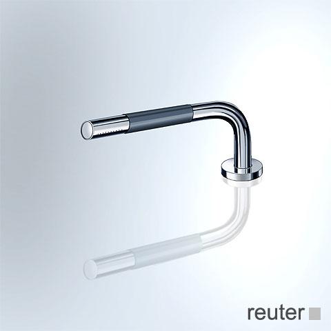 Vola T1 deck-mounted, retractable hand shower, metal shower hose chrome