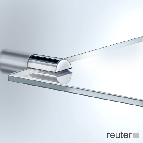 Vola T25 shelf brushed stainless steel, clear glass