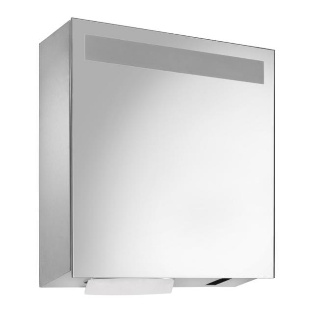 Wagner-Ewar A-Line mirror cabinet with sensor soap and paper dispenser set, clip-on tank