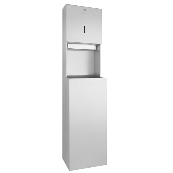Wagner-Ewar A-Line paper towel dispenser and waste bin combination brushed stainless steel