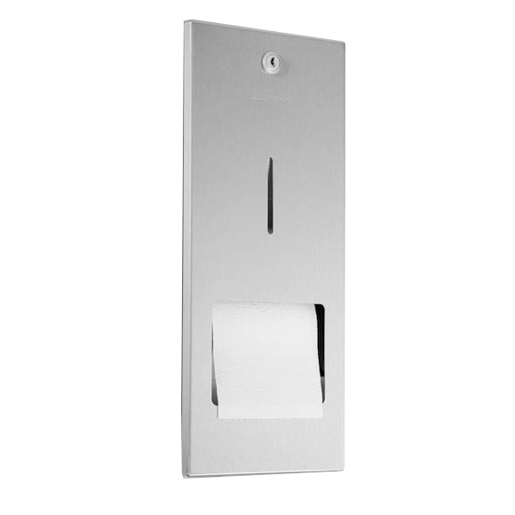 Wagner-Ewar A-Line recessed toilet roll holder with holder for spare roll brushed stainless steel