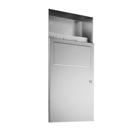 Wagner-Ewar A-Line recessed waste bin with sanitary bag dispenser 6 litres brushed stainless steel