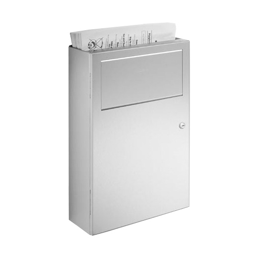Wagner-Ewar A-Line sanitary waste bin with sanitary paper bag dispenser 6 litres brushed stainless steel