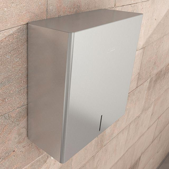Wagner-Ewar P-Line paper towel dispenser, lockable brushed stainless steel