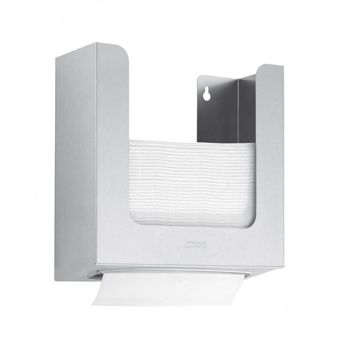 Wagner-Ewar recessed paper towel dispenser in a cabinet
