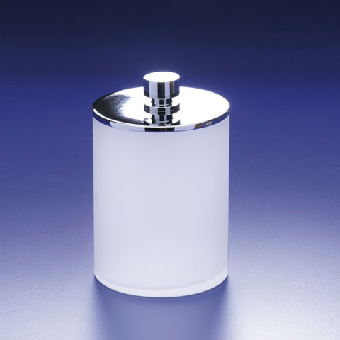 WINDISCH Addition cotton ball holder with lid satin/chrome