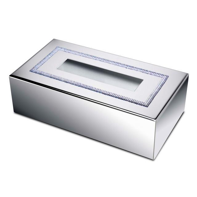 WINDISCH Shine Light Square kleenex box chrome/clear