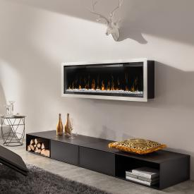 Wodtke feel the flame X mounted electric fireplace with white decorative trim