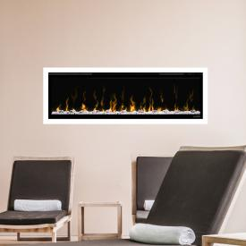 Wodtke feel the flame X-in recessed electric fireplace with white decorative trim