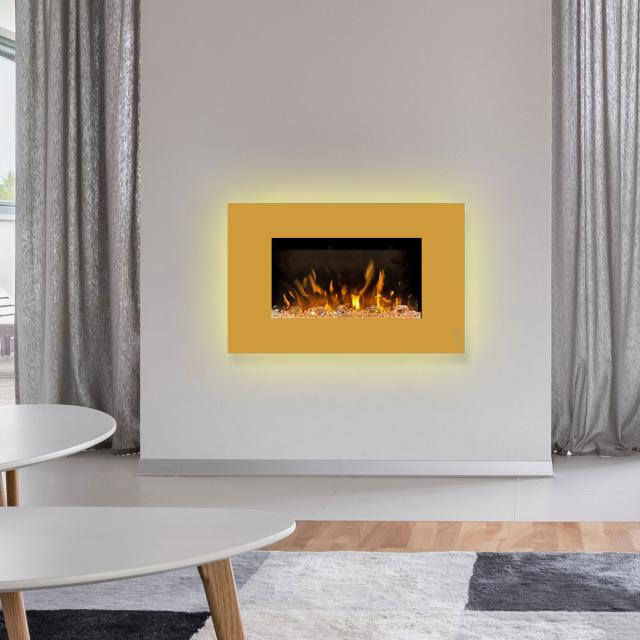 Wodtke feel the flame iVision electric fireplace with gold yellow decorative trim
