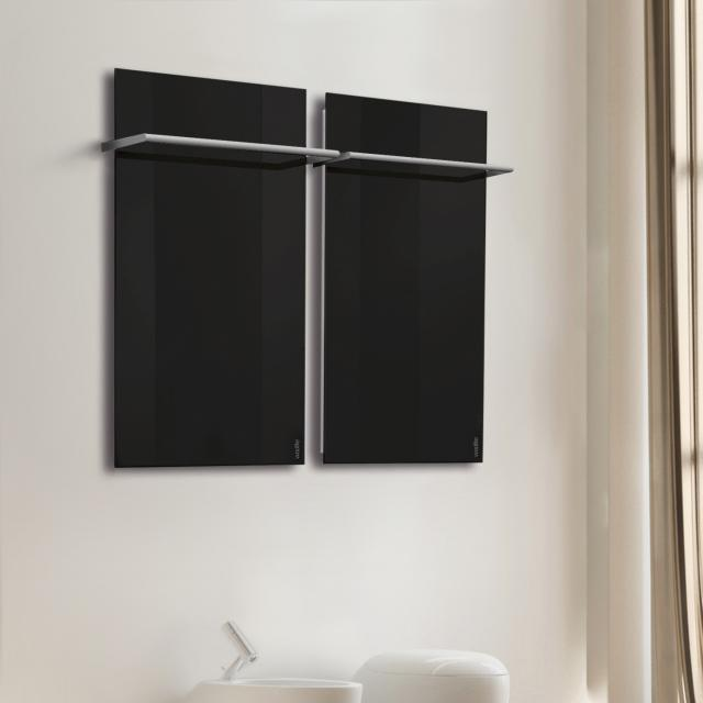 Wodtke feel warm infrared heater set with towel rail black, 470 Watt