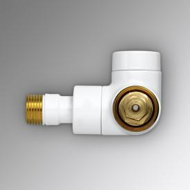 """Zehnder Series XE valve body, angled left 1/2"""" white"""