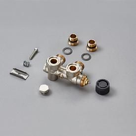 Zehnder Yucca Asym connection fittings without cover, for all hot water operation nickel-plated