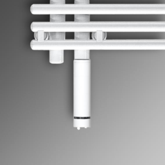 Zehnder Yucca Asym all electric towel radiator white, 300 Watt, single layer, right
