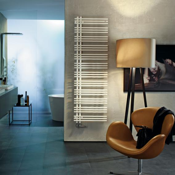 Zehnder Yucca asymmetrical warm water or mixed towel radiator white, single layer, 795 Watt