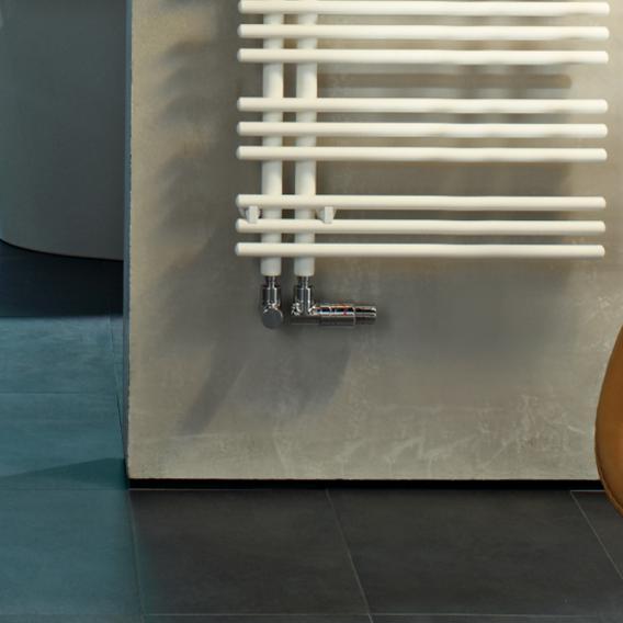 Zehnder Yucca asymmetrical warm water or mixed towel radiator white, single layer, 795 Watt