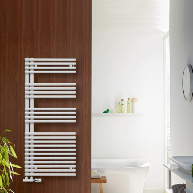 Zehnder Forma Asym towel radiator for hot water or mixed operation white, 547 Watt, right
