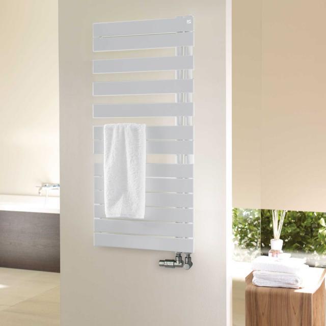 Zehnder Roda Spa Asym towel radiator for hot water operation white, 429 Watt, right