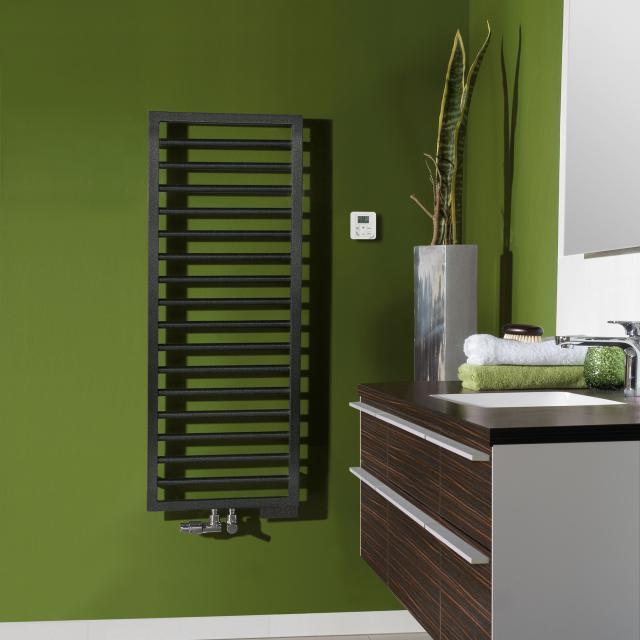 Zehnder Subway towel radiator for mixed operation with built-in heating element volcanic, 509 Watt, 500 heating element