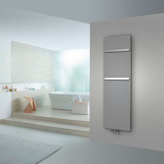 Zehnder Vitalo Bar bathroom radiator for hot water operation aluminium grey, 834 Watt