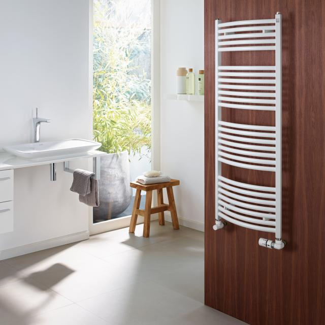 Zehnder Zeno Bow towel radiator for hot water or mixed operation white, with standard connection, 377 Watt